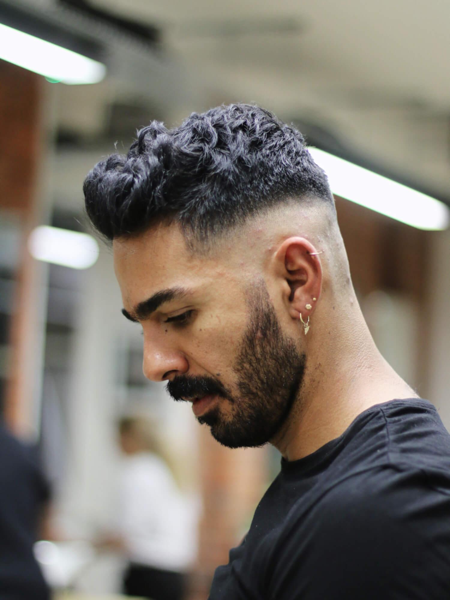 Wavy Quiff Mid Skin Fade Haircut