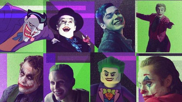 Collection of Joker Characters throughout the years