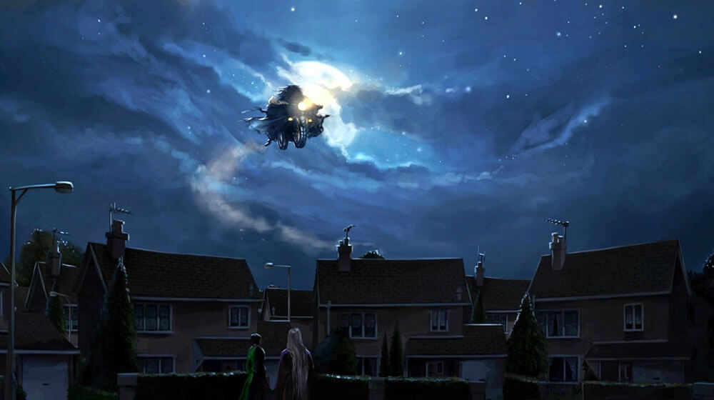 Hagrid Flying on his Motorbike over Privet Drive, with Harry Potter
