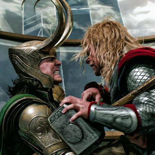 Thor and Loki, Battling Together in Avengers Assemble Movie