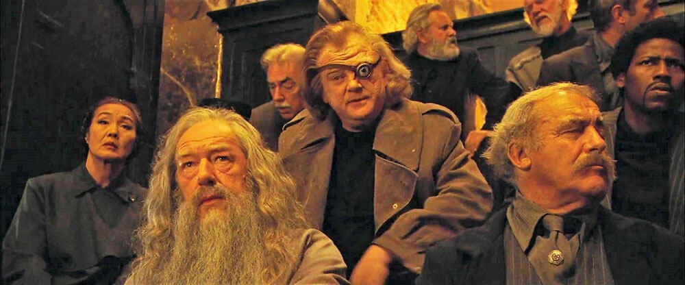 Scene from the Harry Potter Films with Alastor Moody and Albus Dumbledore