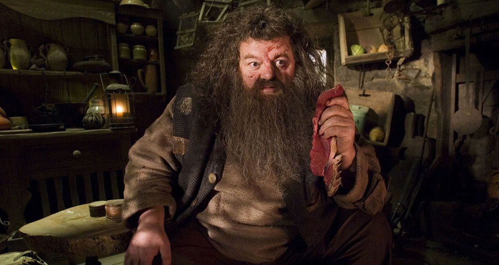 Hagrid at Home, nursing his injured face with a steak