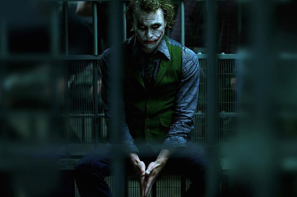 Heather Ledger's Joker in a Jail Cell, in The Dark Knight