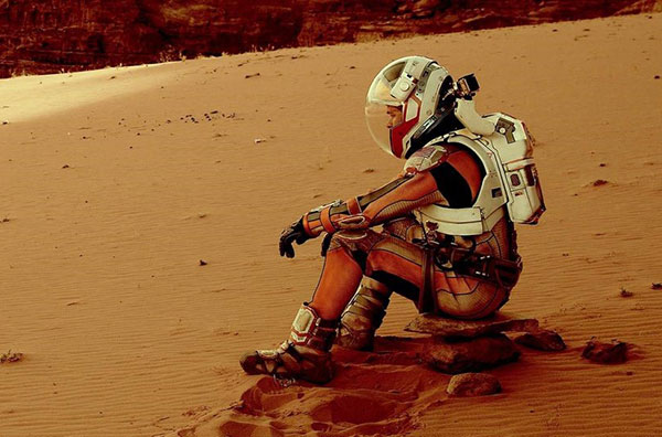 A Scene from The Martian 2015 Movie with Matt Damon Sat on the Surface of Mars