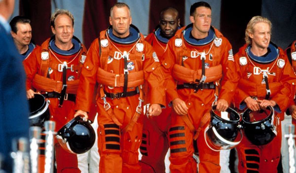 A Scene from the Armageddon 1998 Film Showing characters walking to the NASA Space Ship