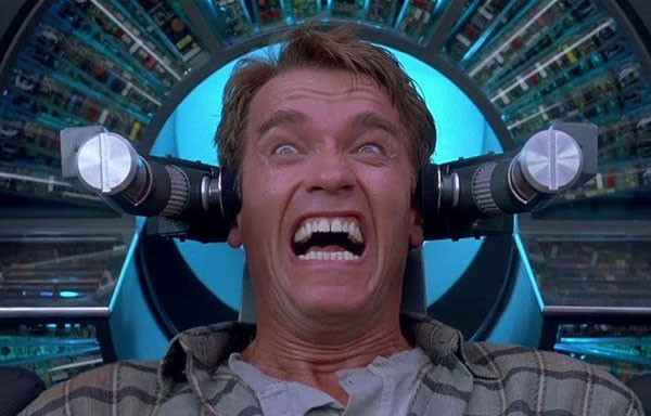 A Scene from the Total Recall 1990 Film featuring Arnold Schwarzenegger