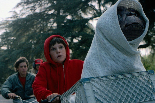 A Scene from end of the the E.T 1982 Film showing E.T. and friends on Bikes