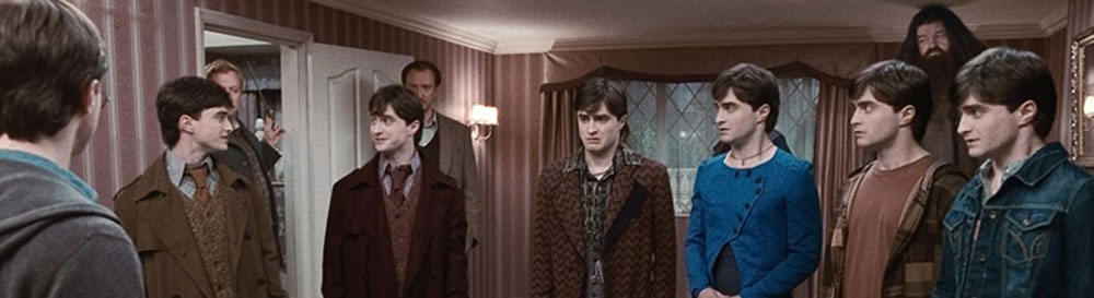 The Harry Potter Decoys in Deathly Hallows, after taking Polyjuice Potion