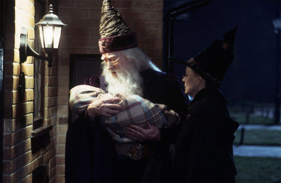 Baby Harry at Privet Drive with Dumbledore and McGonagall