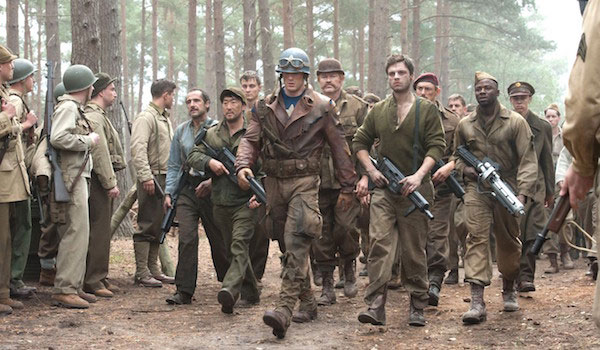 Captain America with Bucky Barnes and the Troops