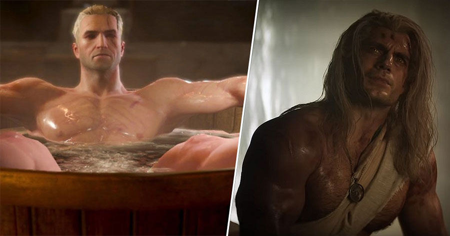 The Witcher 3 Bath Scene and Henry Cavill's Geralt Character Half Naked