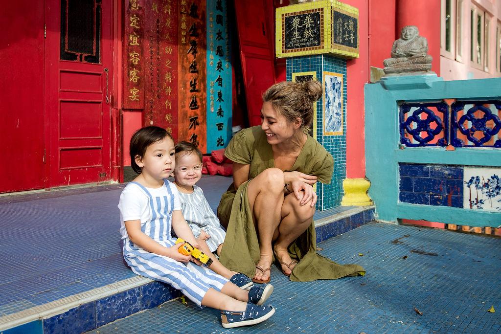 Alison Chan El Azar with her children