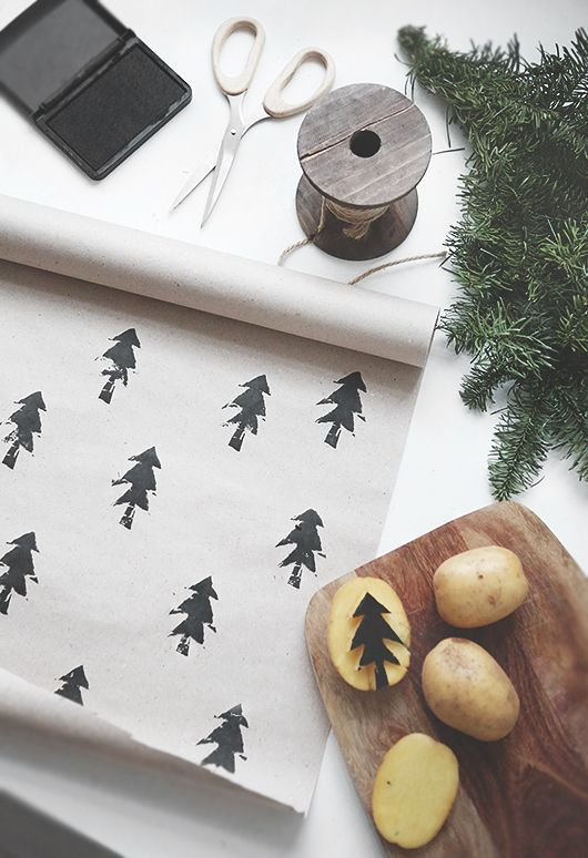 Stamp your wrapping with a homemade potato stamp