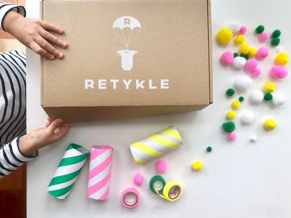 Kids craft project with recycled Retykle packaging