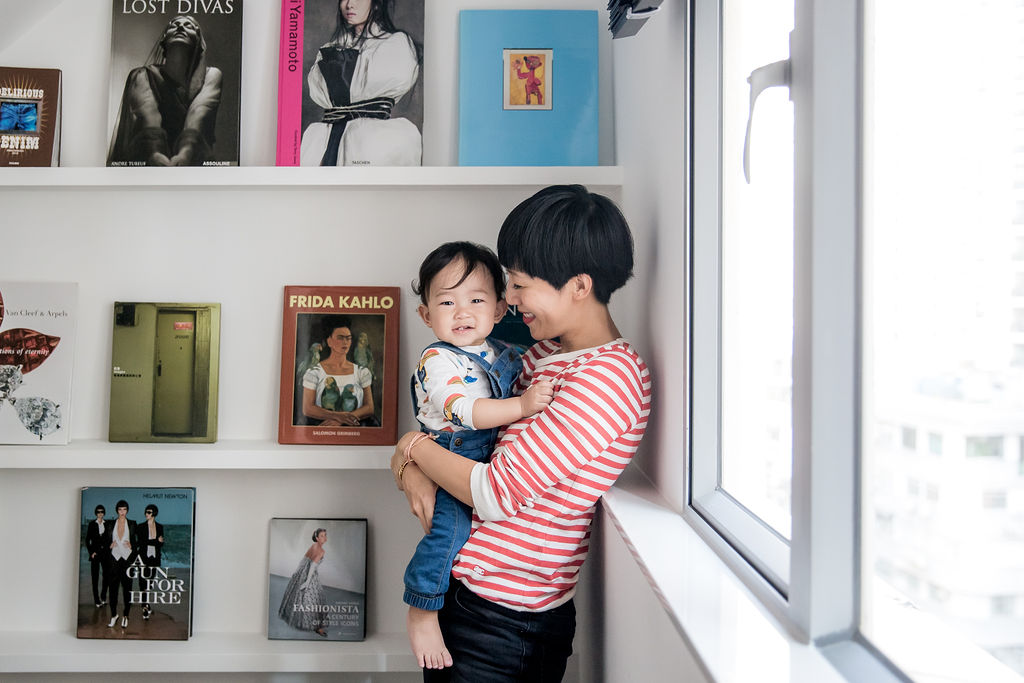 Denise Ho, founder of Knotti, designer for Redress and stylist at home with her son