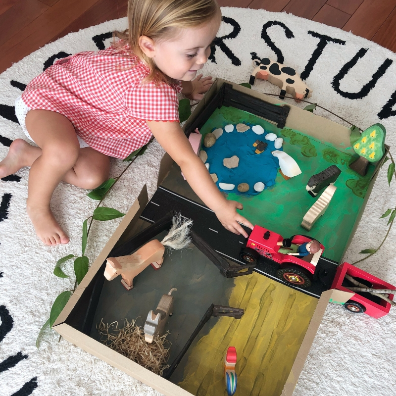 Turn your recycled packaging into a fun farmyard playbox
