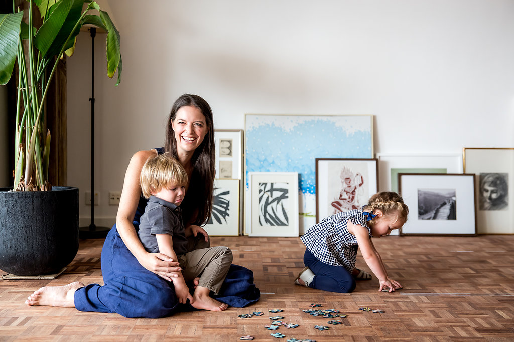Sarah Garner, founder of Retykle with children Henry and Olympia