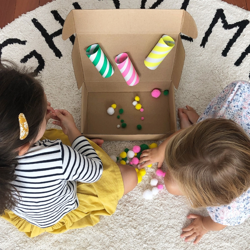 The pom-pom sorter is popular with both a two and three year old