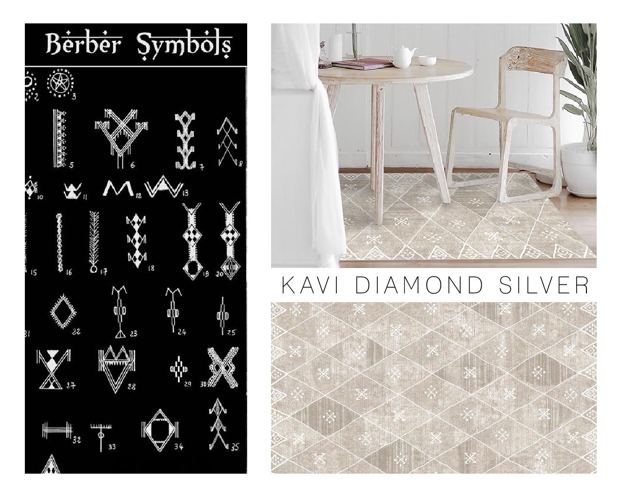 Berber symbols in Kavi Diamond Silver Moroccan rug.