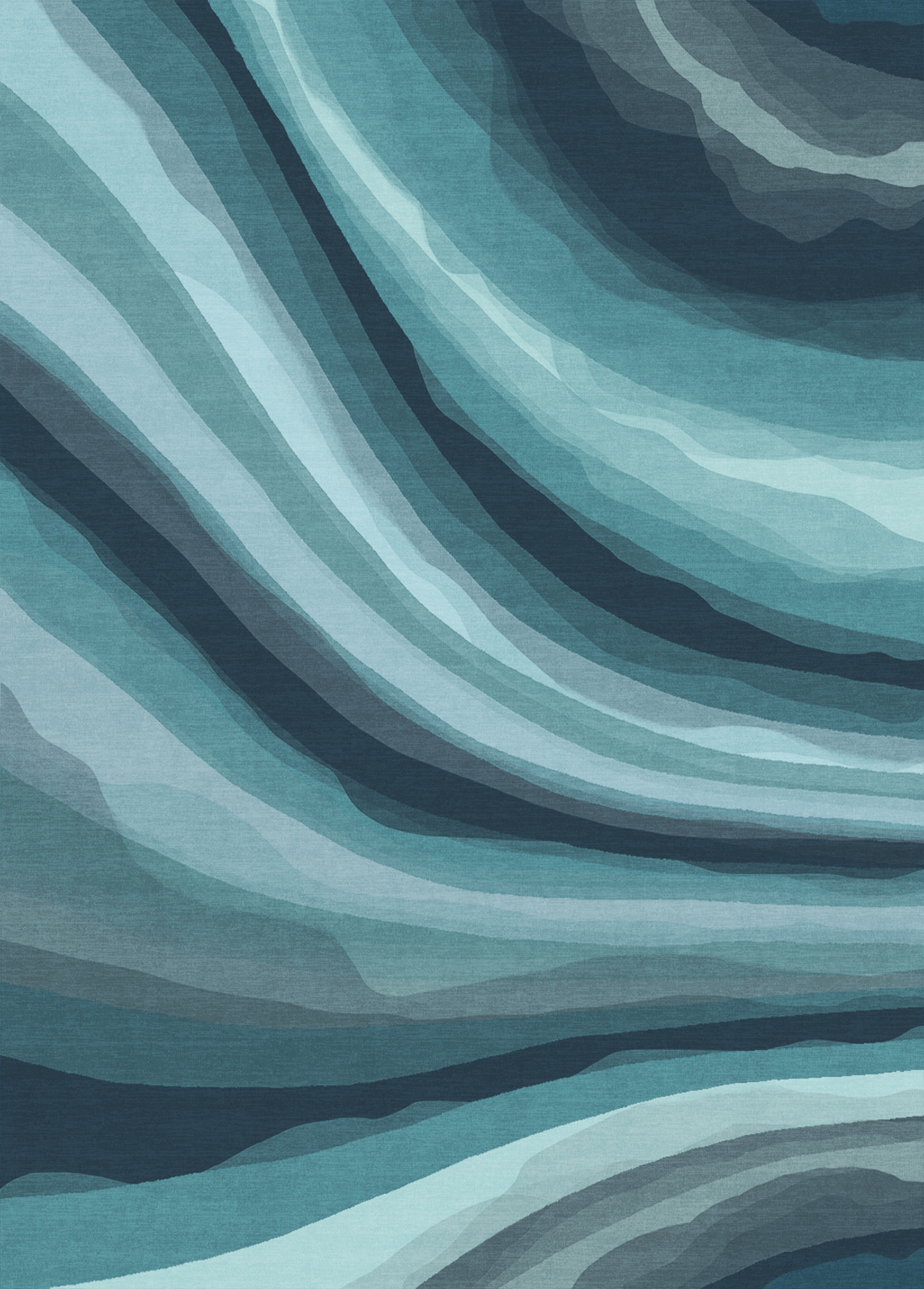 Blue Rug - Watercolor Waves Blue