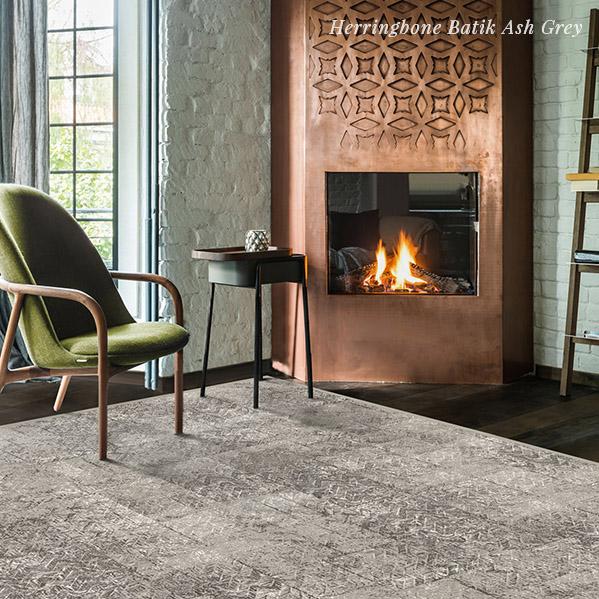 Herringbone Batik Ash Grey