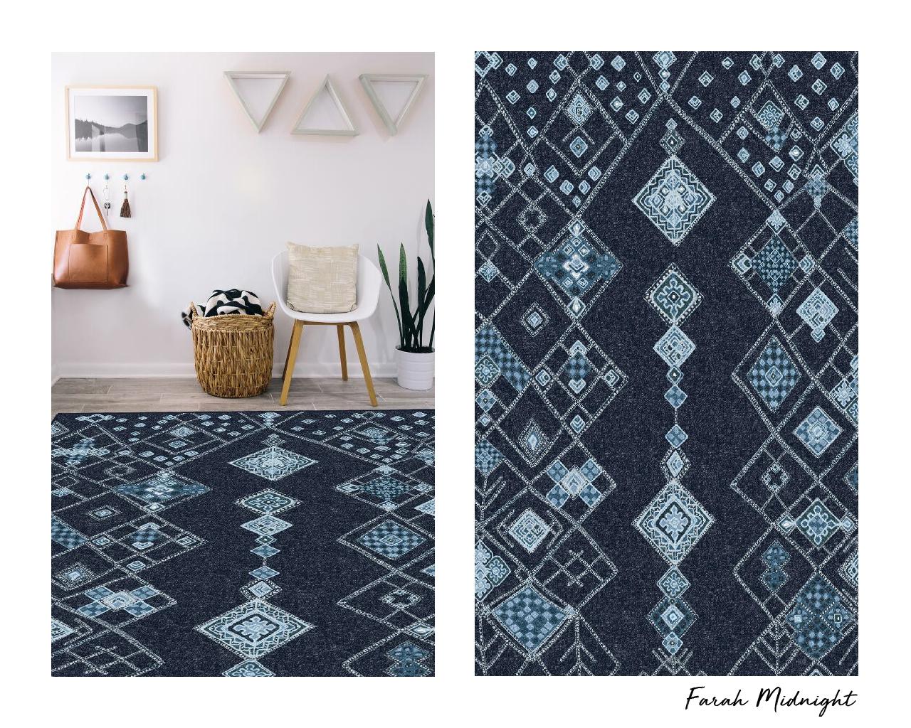 Farah-inspired blue diamond Moroccan rug.