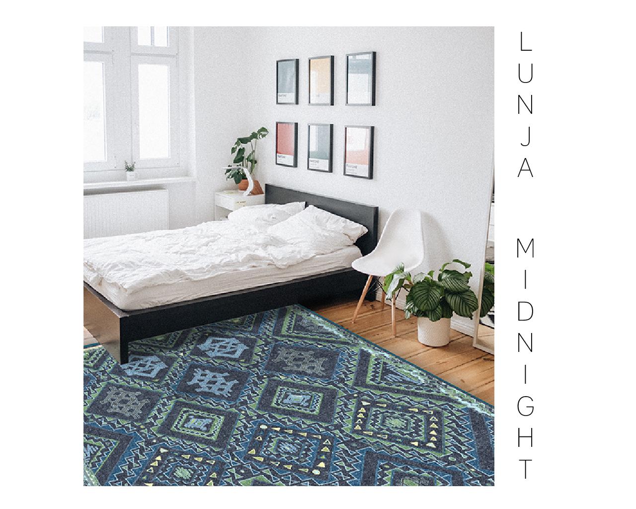 Lunja blue diamond Moroccan rug