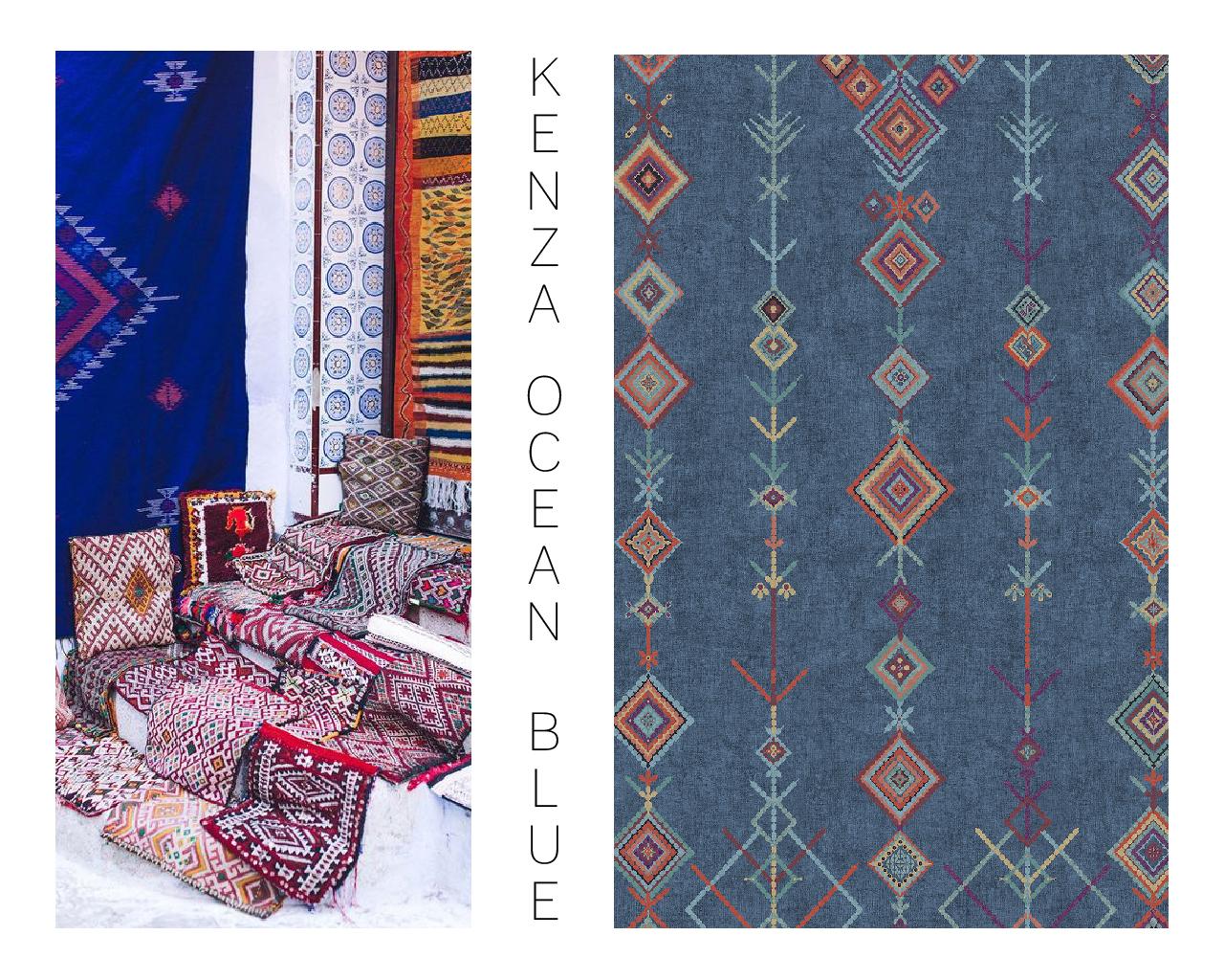 Colorful Kenza blue Moroccan rug