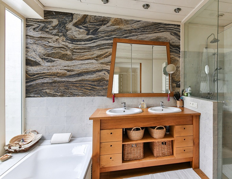 Stone Wave Mural Design by Interior Ink