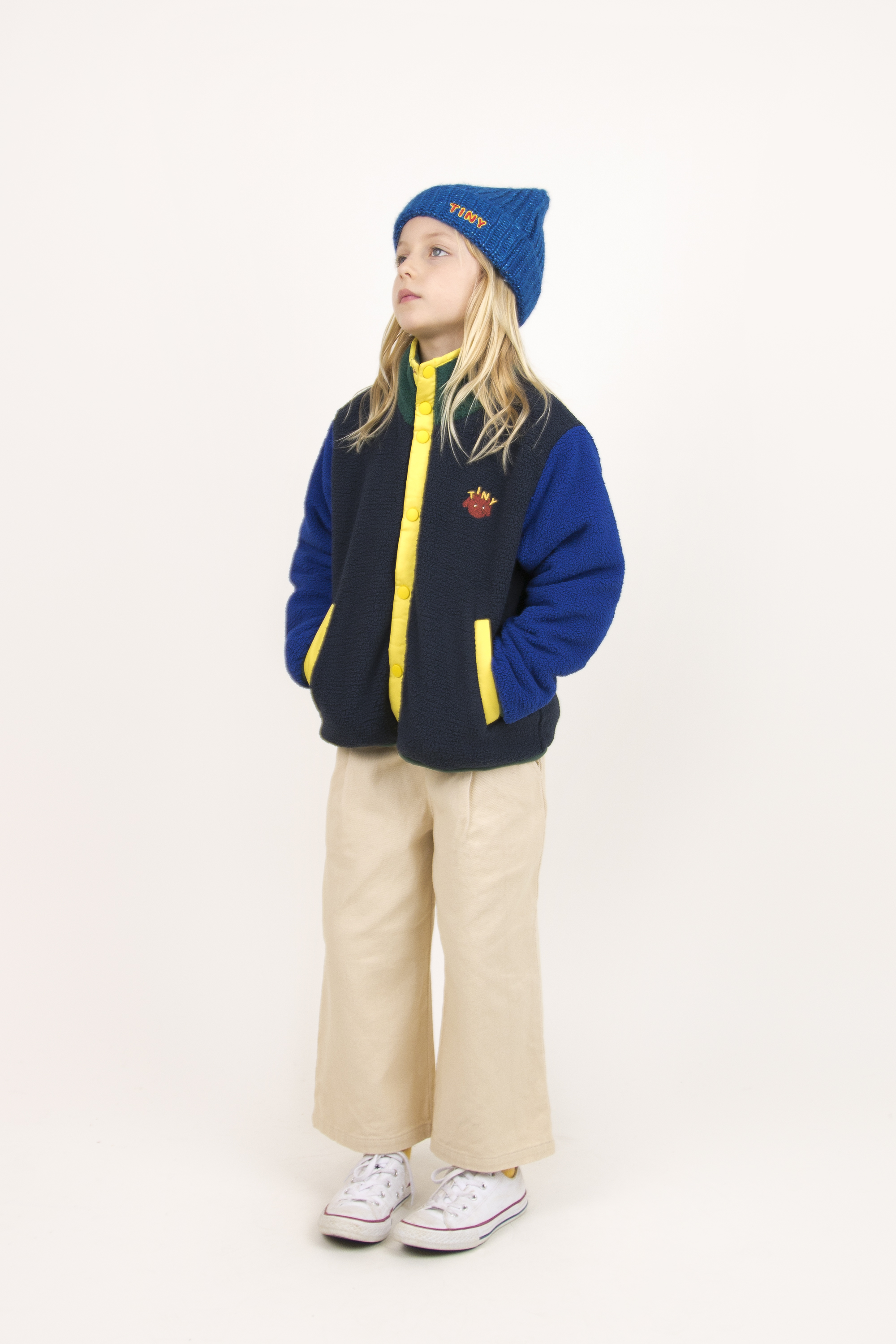 tinycottons colorblock polar jacket navy blue