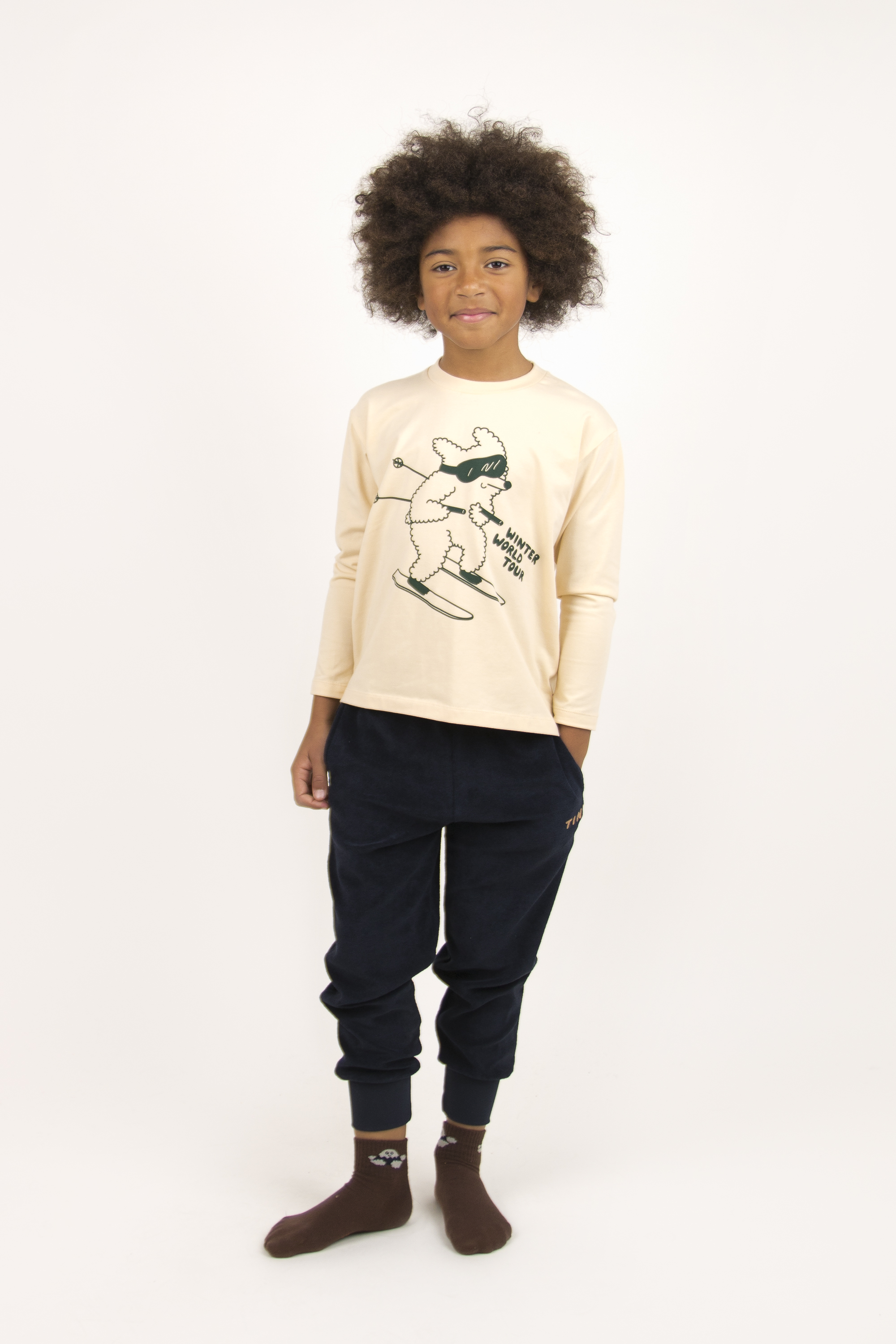 tinycottons skiing dog tee cream dark green