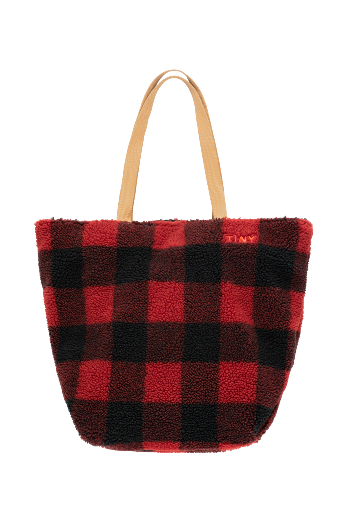 tinycottons check sherpa tote bag burgandy navy