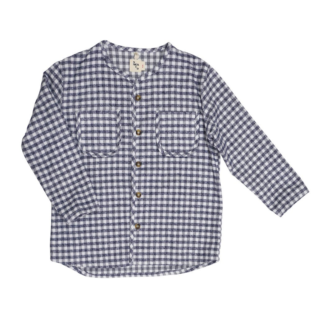 kodomo boston - nio nico boys flannel plaid button down