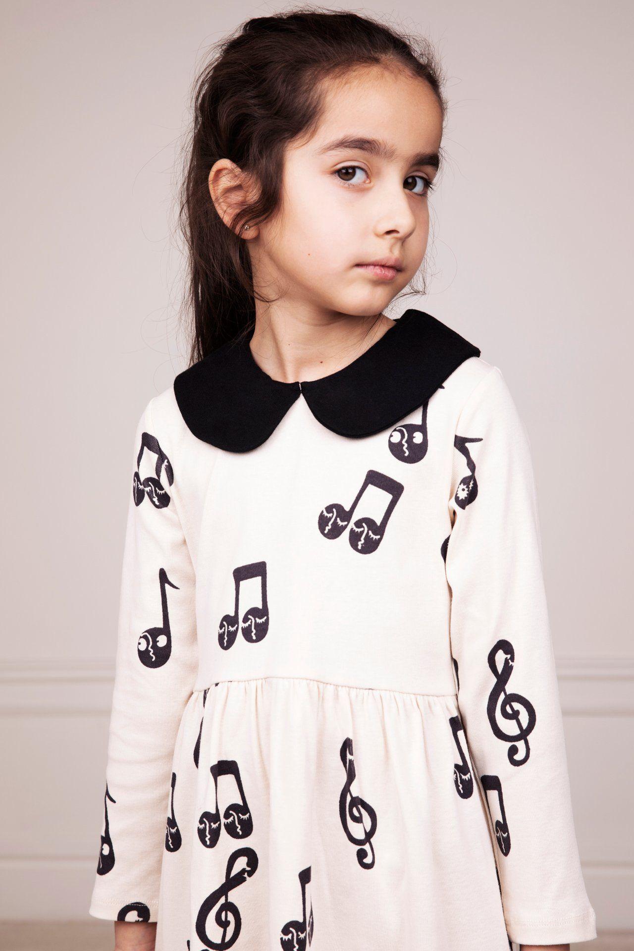 mini rodini notes long sleeve dress offwhite