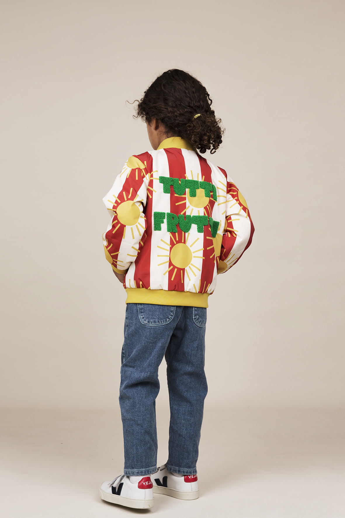 mini rodini sun stripe baseball jacket