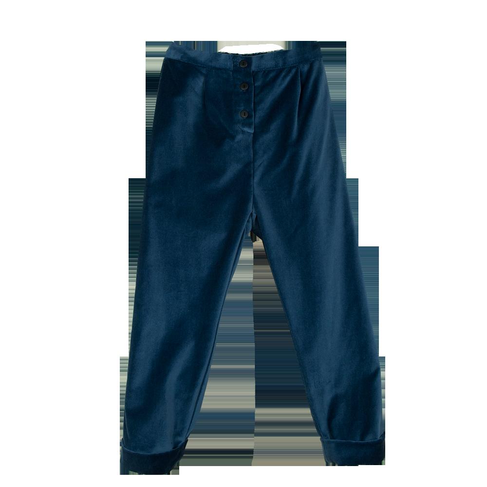 kodomo boston - popelin boys blue velvet trousers
