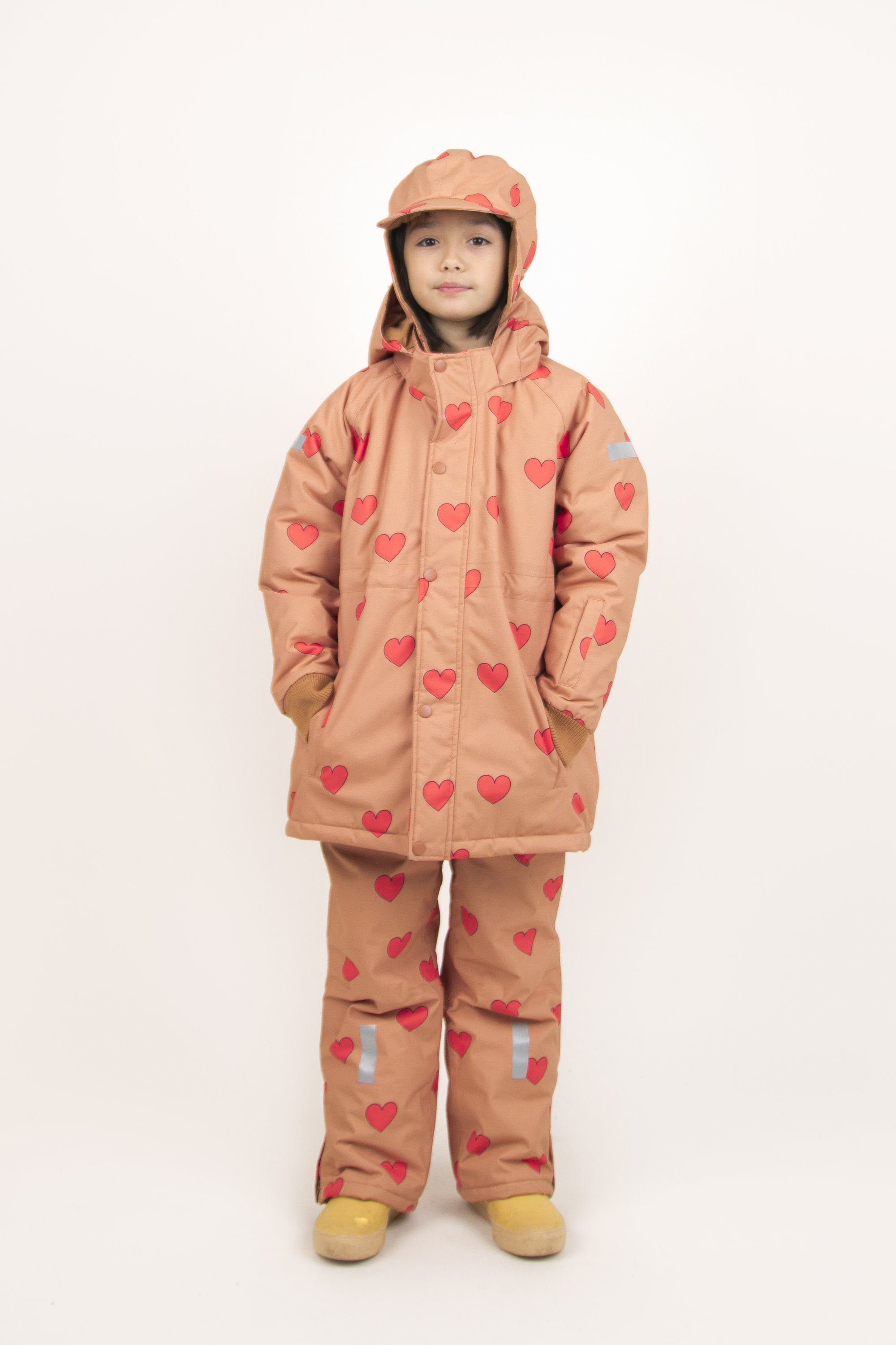tinycottons hearts snow jacket tan red