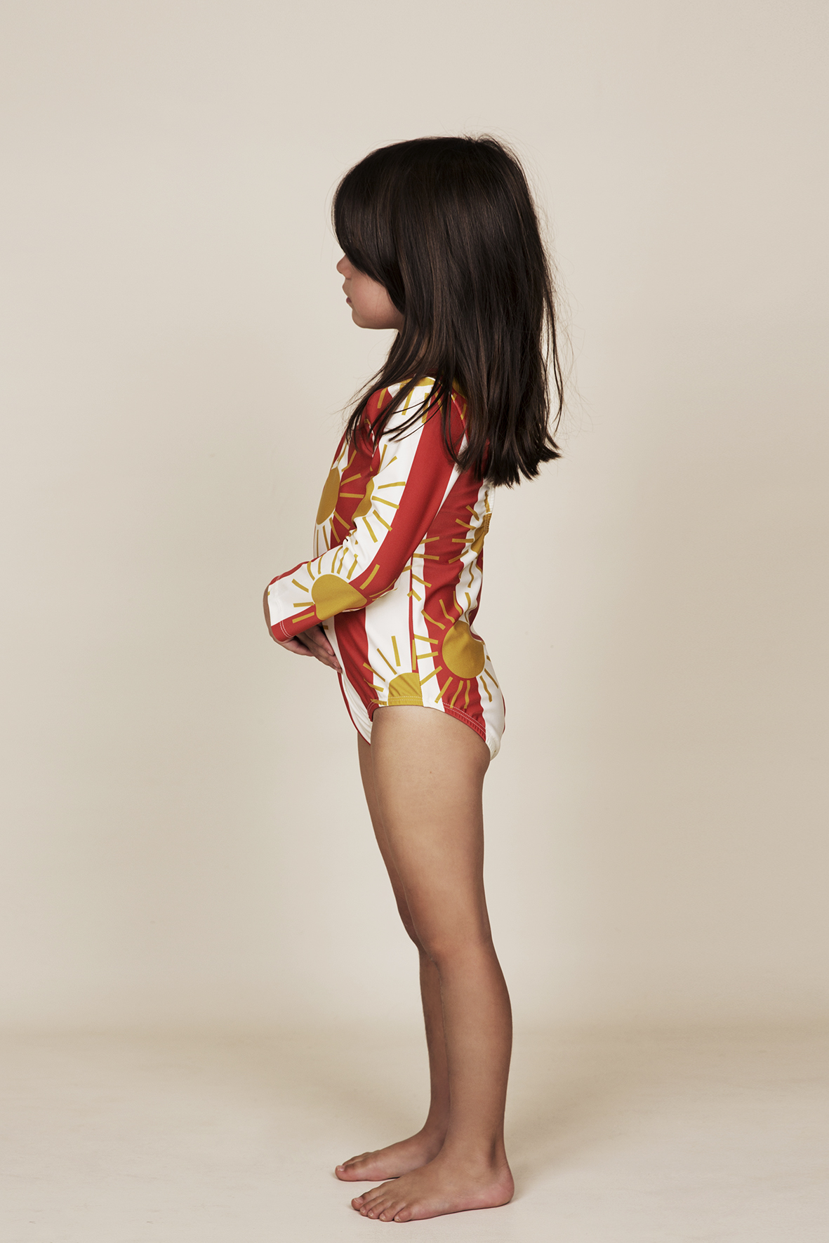 mini rodini sun stripe long sleeve bathing suit