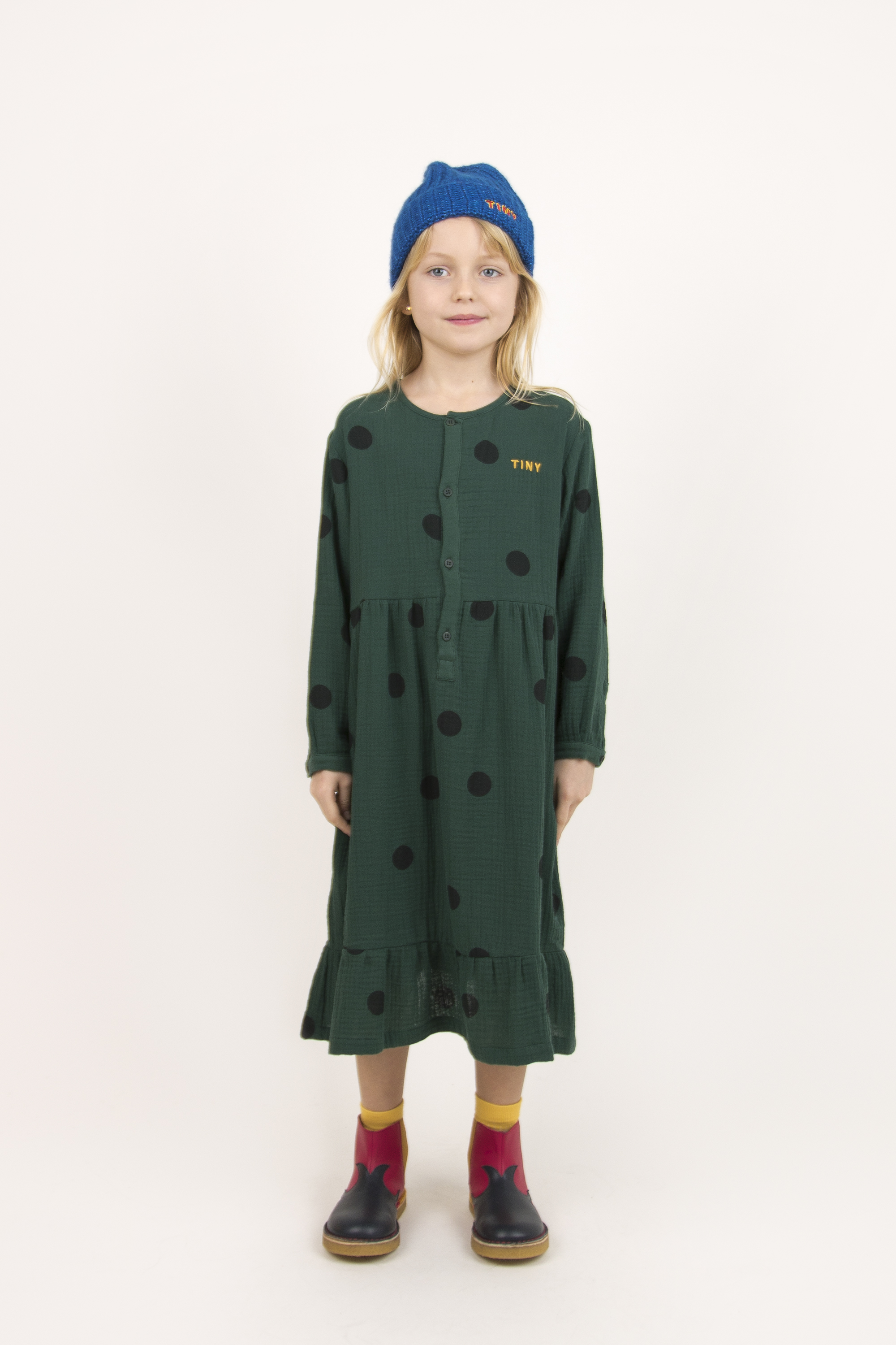 tinycottons big dots dress dark green black