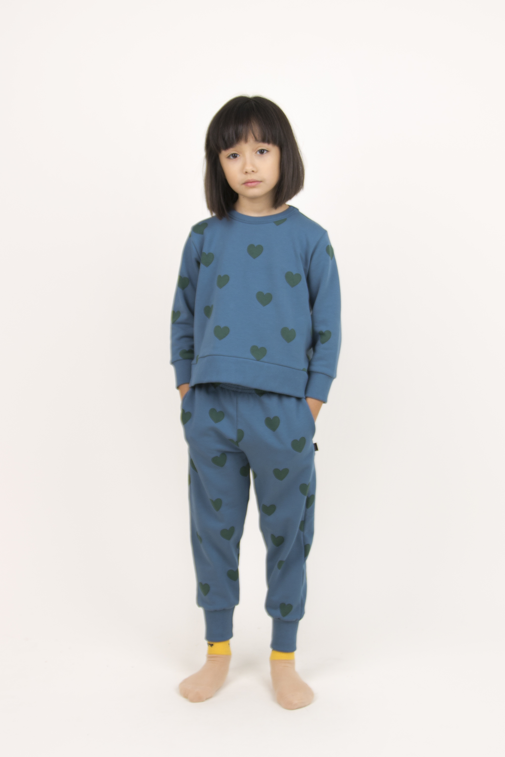 tinycottons hearts sweatshirt sea blue dark green 2