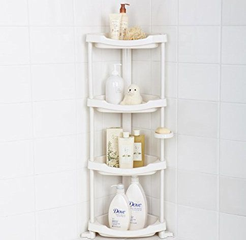 A four tier corner shower caddy.