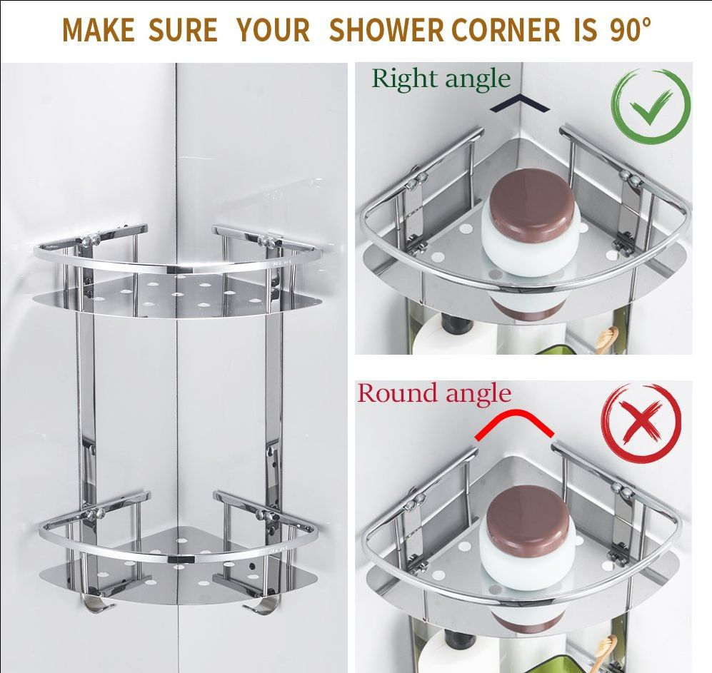 Stainless Steel Wall mouthed Corner Shower Caddy Bathroom Storage Shelf New