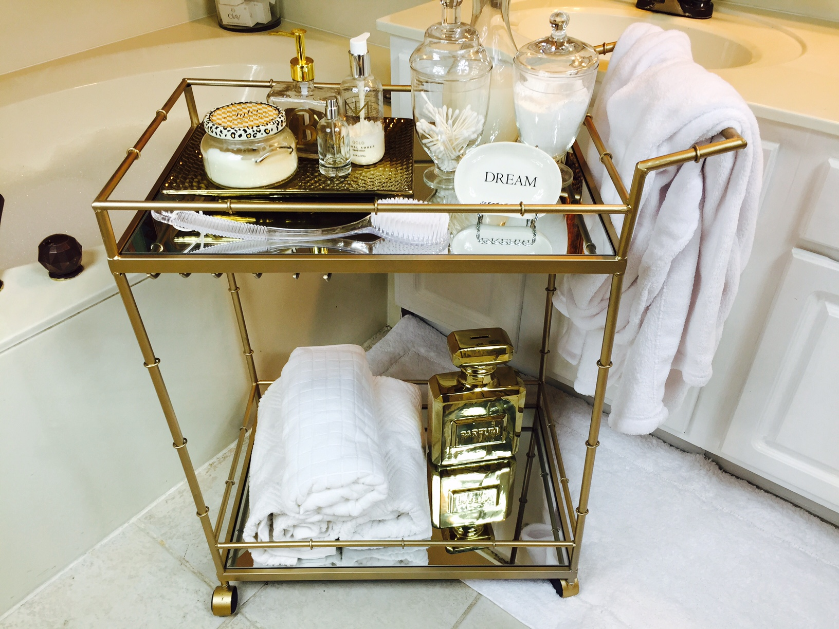 Bar cart in bathroom