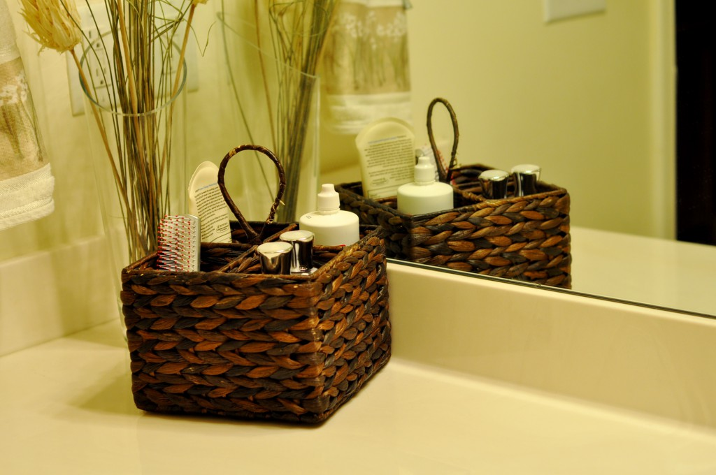 small basket on bathroom counter