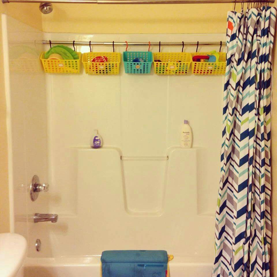 shower rod for bathroom storage