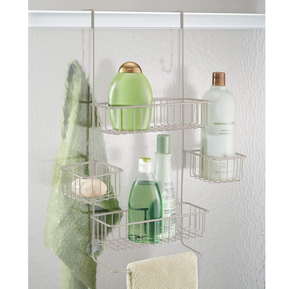 A minimalist over the door shower caddy.