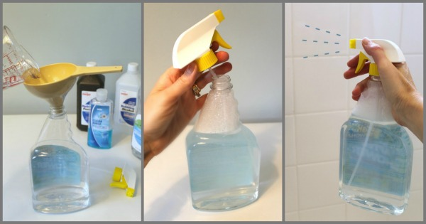 A vinegar and water solution to help remove scum.