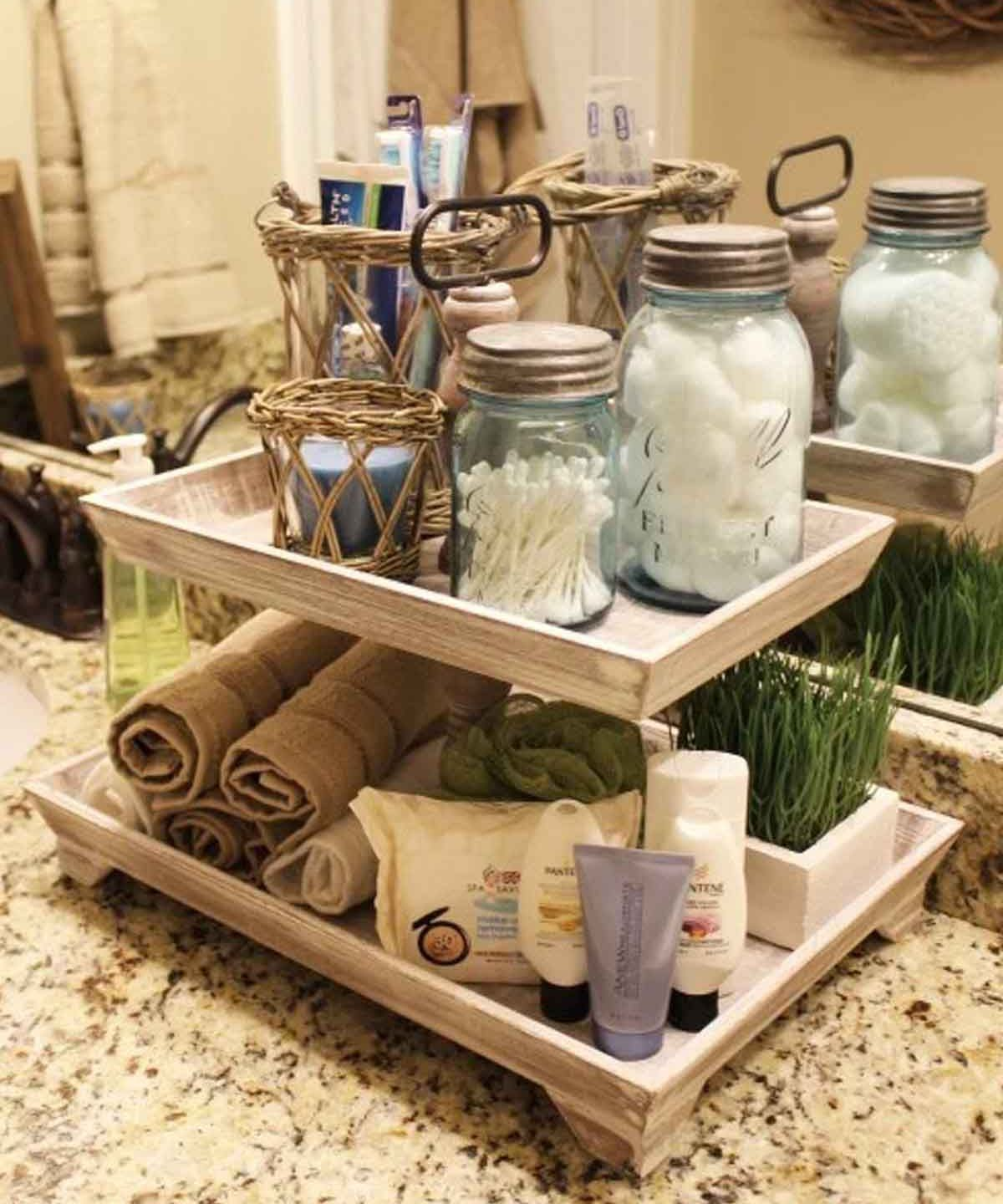Storage tray on bathroom counter