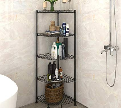 Corner shelf in bathroom