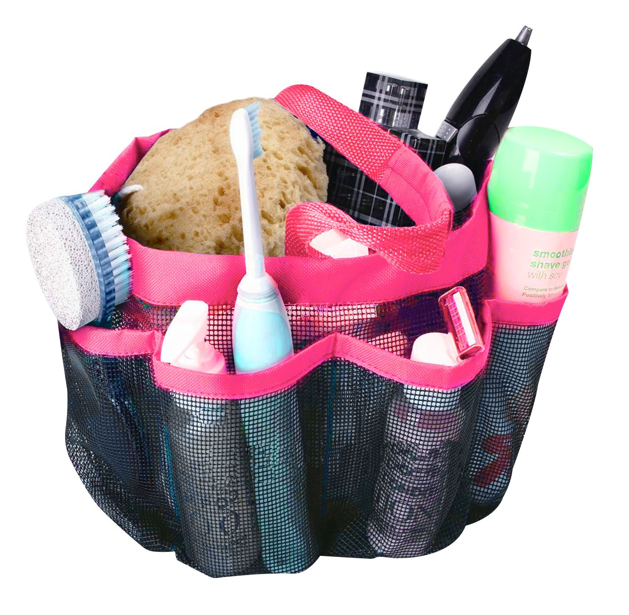 An organized mesh shower caddy.